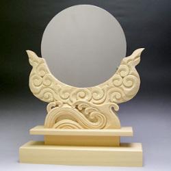 神鏡 神具 神棚 鏡 + 木曽桧製 雲形 台 サイズ 6寸
