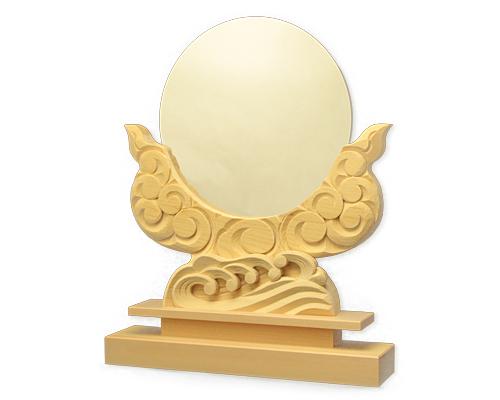 神鏡 神具 神棚 鏡 + 木曽桧製 雲形 台 サイズ 9寸