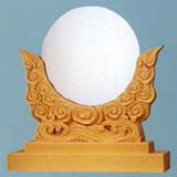 神鏡 神具 神棚 白銅 鏡 + 特上 彫り 雲形 台 サイズ 5寸
