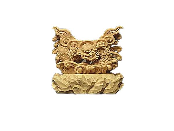 龍 上彫 神鏡 台 (木曽桧製) 神具 神棚 サイズ 2寸用