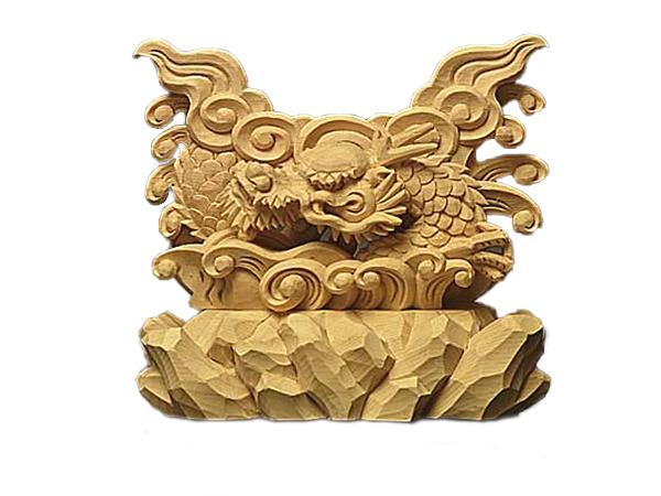 龍 上彫 神鏡 台 (木曽桧製) 神具 神棚 サイズ 3寸用