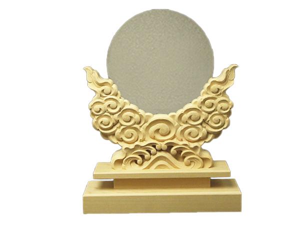 神鏡 神具 神棚 青銅 鏡 + 特上 彫り 雲形 台 サイズ 8寸