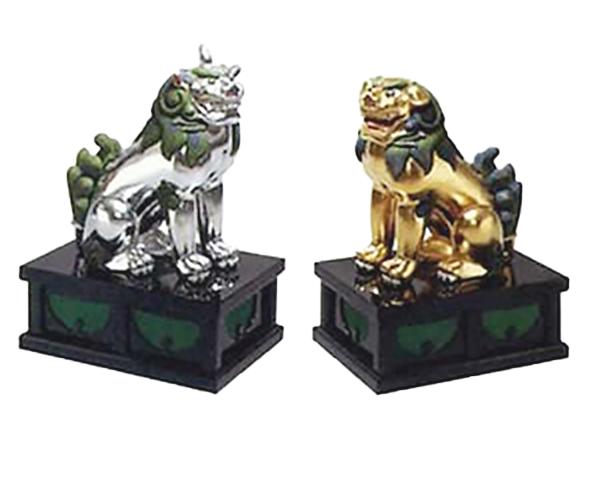 狛犬 木彫金銀箔押極彩色 1尺2寸