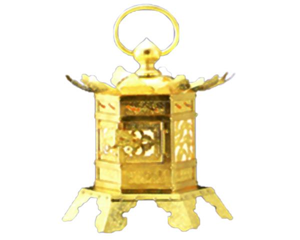 六角吊下灯篭 蝶足型 銅地本金鍍金 5寸