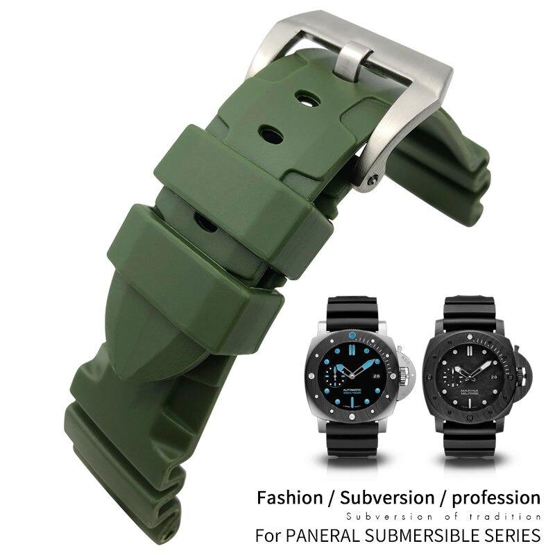 日本全国 送料無料 パネライ のベルト交換用の互換品です 交換用 バタフライバックル 腕時計バンド ラバーベルト 22mm 24mm 26mm ウォーターウォッチ シリコンラバー 防水 お得セット 汎用品