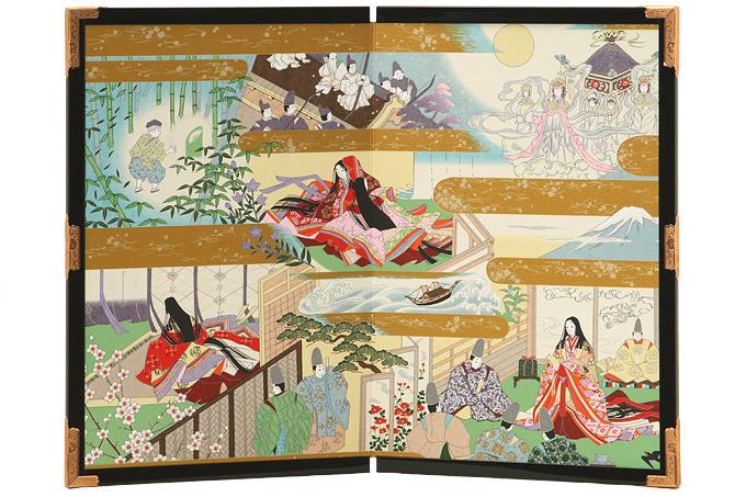 贈答品 記念品 日本土産 父の日 母の日 待望 敬老の日に日本製 箱入り 15号二曲絵屏風 竹取物語 60cm幅 特価キャンペーン 送料無料 包装無料で承ります 日本製 友禅和紙工芸品