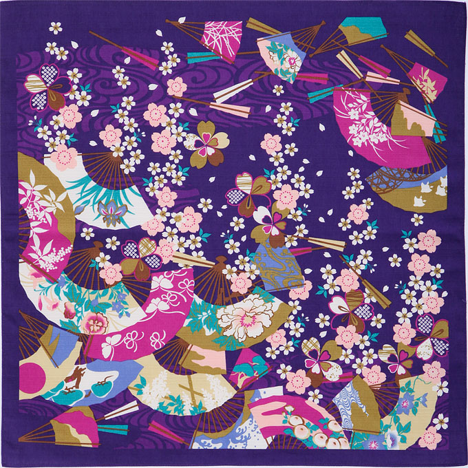 日本土産 海外への手土産 手配り品 和 お土産 雑貨 日本製海外発送可 はいからもだん 綿小ふろしき 扇面ちらし 紫 50cm巾 日本製