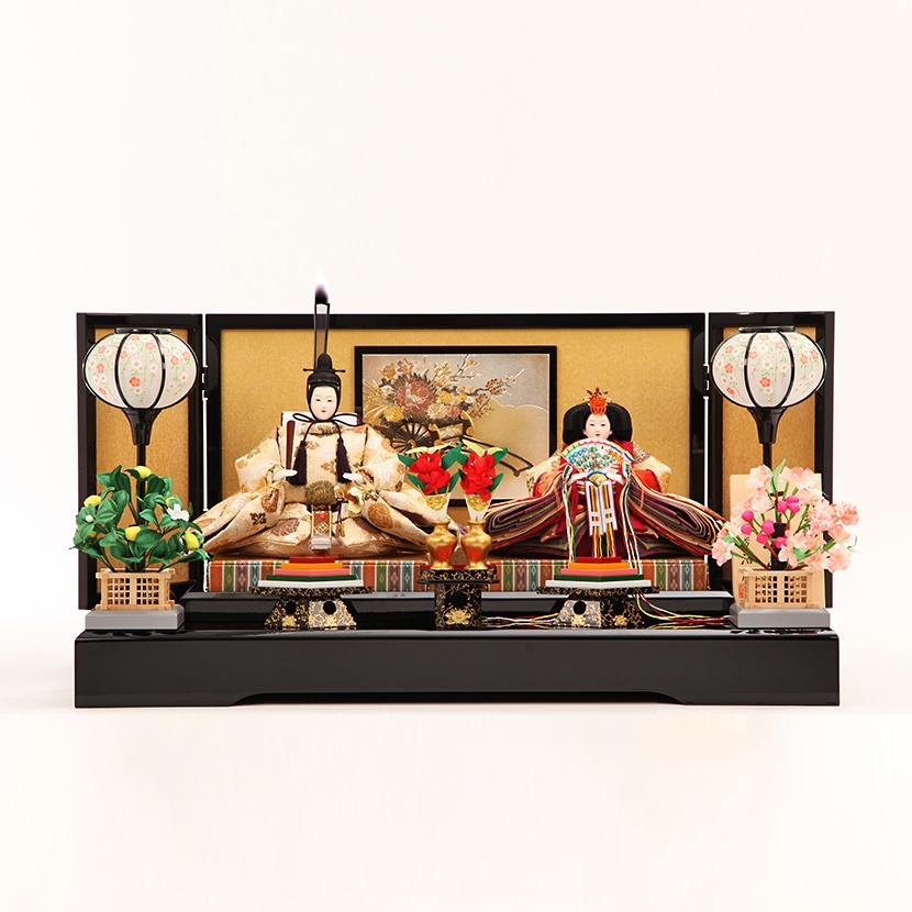 【ご優待価格】雛人形 コンパクト 親王飾り 三五 丸花唐草 彫金屏風飾 ひな人形