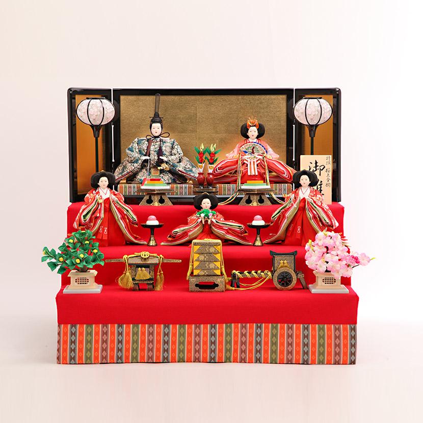 雛人形 コンパクト 三段飾り 十番 正絹まり葵 毛氈三段飾 ひな人形
