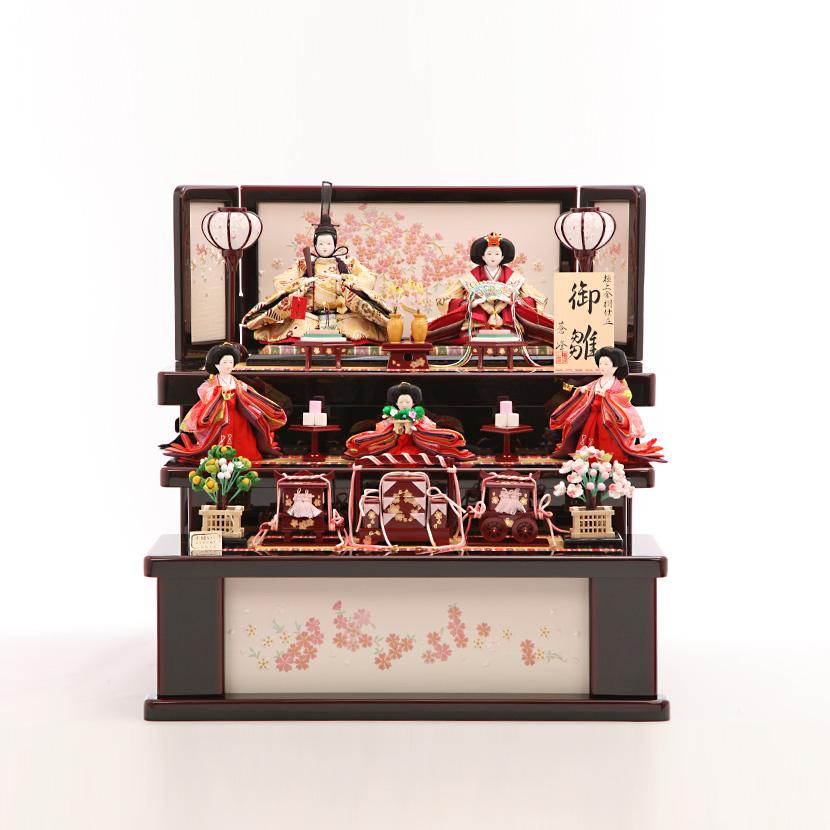 【ご優待価格】雛人形 コンパクト 収納三段飾り 三五 金茶流水 黒溜如月収納三段飾 ひな人形【佐川急便】