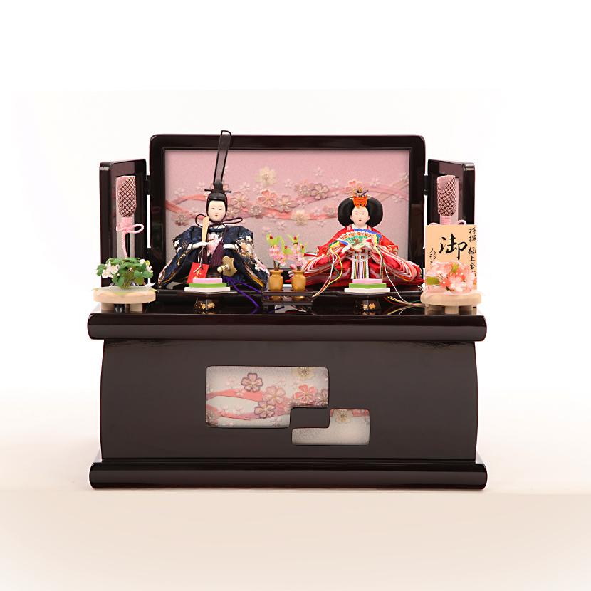 雛人形 コンパクト 収納飾り 45号 ワイン安珠収納台 雪輪桜親王飾 ひな人形