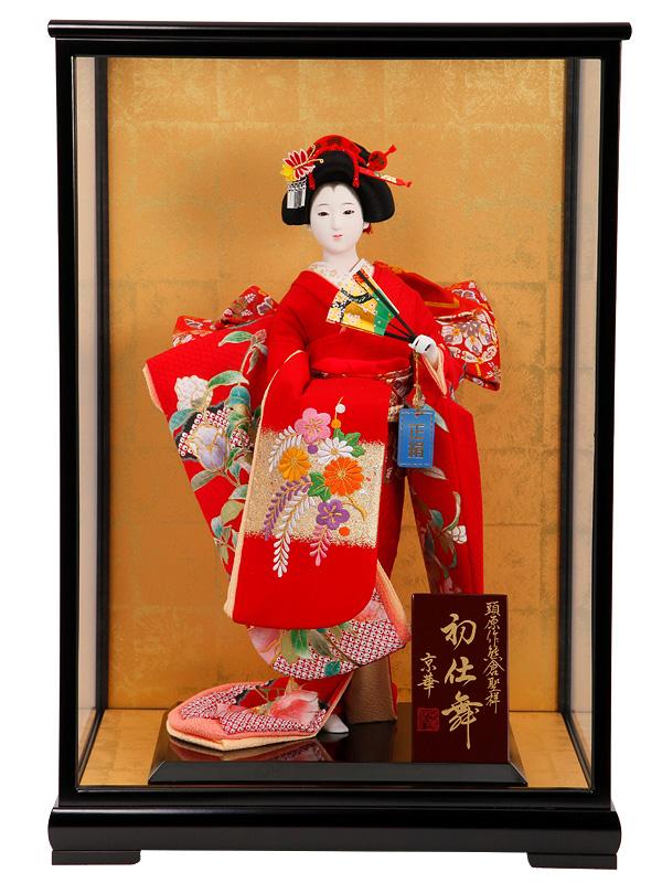 日本人形 10号 京華 刺繍片脱 金彩茜 黒塗ケース入り 尾山人形 御所人形