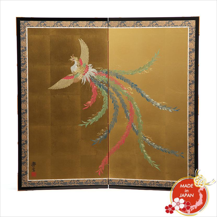 二曲屏風 箔押金彩 五色鳳凰 吊り金具付き 伝統工芸品