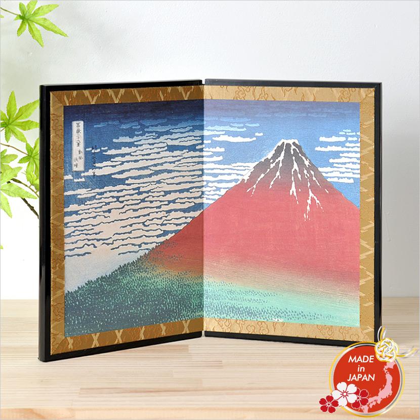 絵屏風 北斎屏風 二曲 赤富士 伝統工芸品