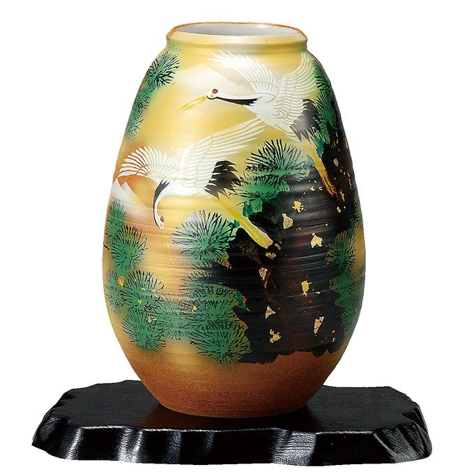 九谷焼 花瓶 8号 松に鶴 K51279 日本みやげ 送料無料 日本製 【メール便不可】
