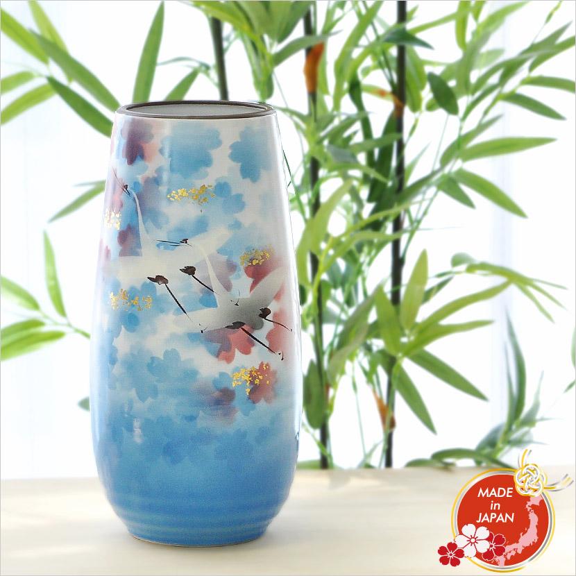 九谷焼 花瓶 8.5号 遊鶴 K5-1266 木箱入り 日本製 【メール便不可】
