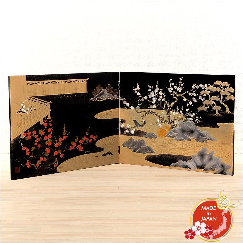 会津塗 蒔絵屏風 衝立 初音図 日本製【送料無料】【名入れ可能商品】【メール便不可】