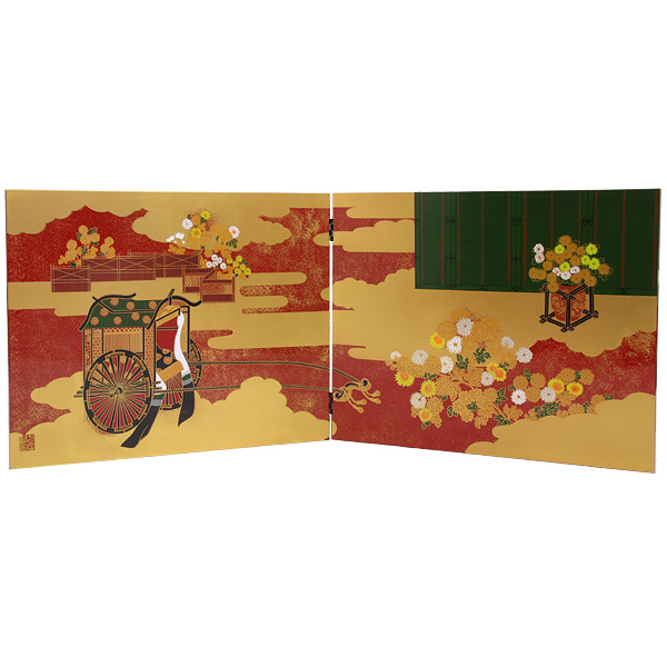 会津塗 蒔絵屏風 衝立 菊 日本製【送料無料】【名入れ可能商品】【メール便不可】