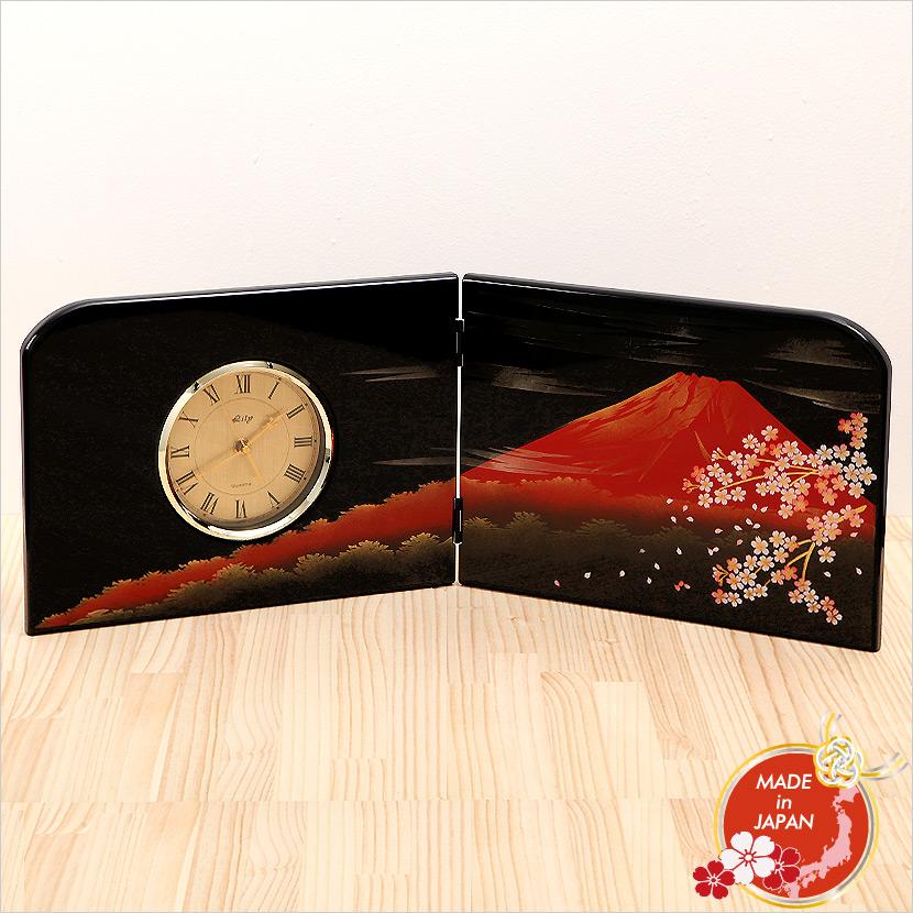 木製 屏風時計 富士さくら 山中漆器 日本みやげ 日本製【名入れ可能商品】【メール便不可】