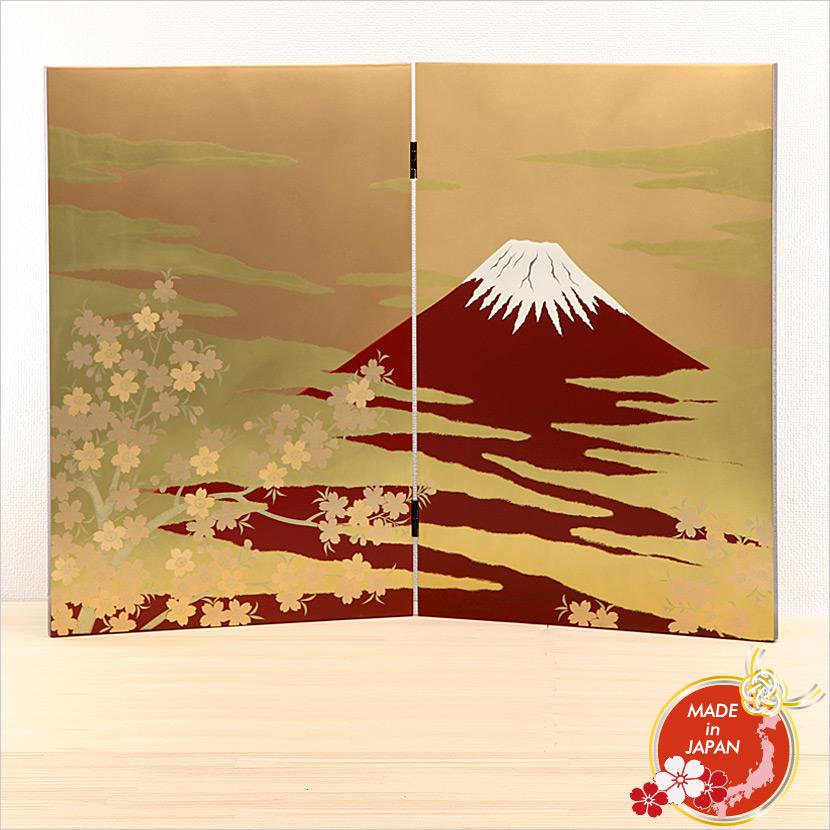 会津塗 衝立 大 金地 赤富士 日本みやげ 日本製【送料無料】【名入れ可能商品】【メール便不可】