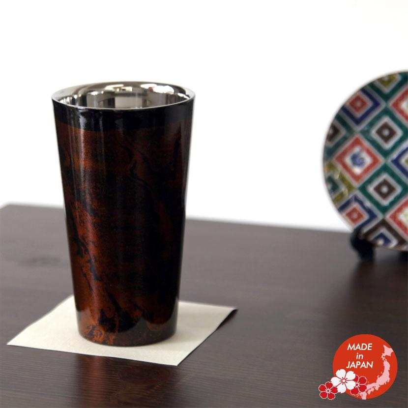 蒔絵小物 山中漆器 漆磨2重ストレートカップ 黒 ビャクダン 日本製【メール便不可】