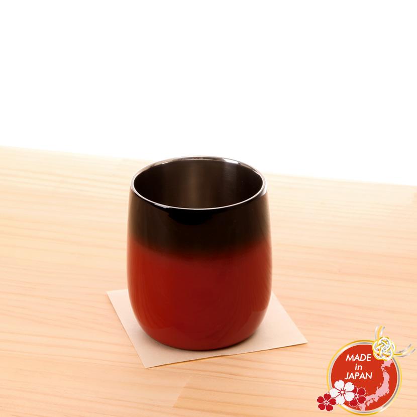 蒔絵小物 山中漆器 漆磨二重ロックカップ ダルマ 赤 彩