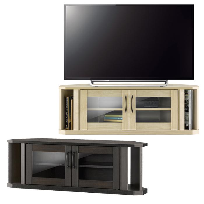 コーナーテレビ台 テレビ台 木製 ローボード コーナー テレビボード ロータイプ ガラス戸