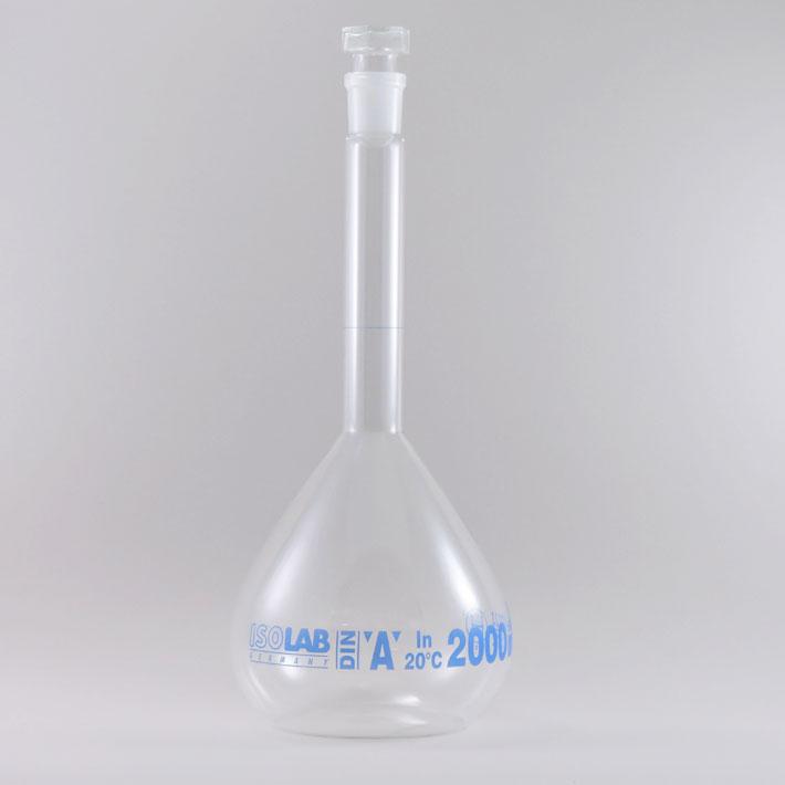 ドイツISOLAB社 タイムセール ISOLAB メスフラスコ2000mlガラス栓付 理科室 お歳暮 実験 おうちで科学