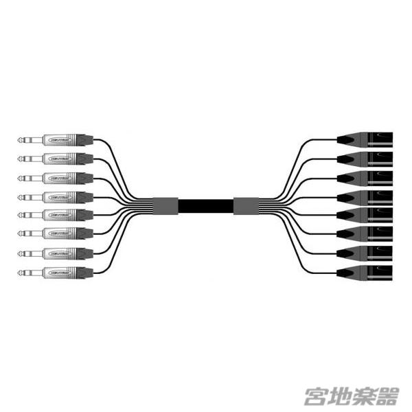 8chマルチケーブル(XLRオス-TRS)。プラグはNEUTRIKを使用。 Mogami/2932 8ch XLRM-TRS 6m