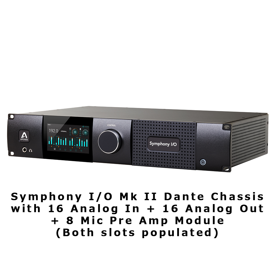 APOGEE/Symphony I/O Mk II Dante Chassis with 16 Analog In + 16 Analog Out + 8 Mic Pre Amp Module (Bo【~8/31期間限定FX Rackプレゼントキャンペーン】