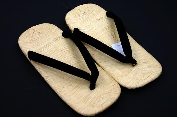 雪駄(せった)履物 ■紳士用本畳表革底雪駄「別珍 黒鼻緒」Mサイズ