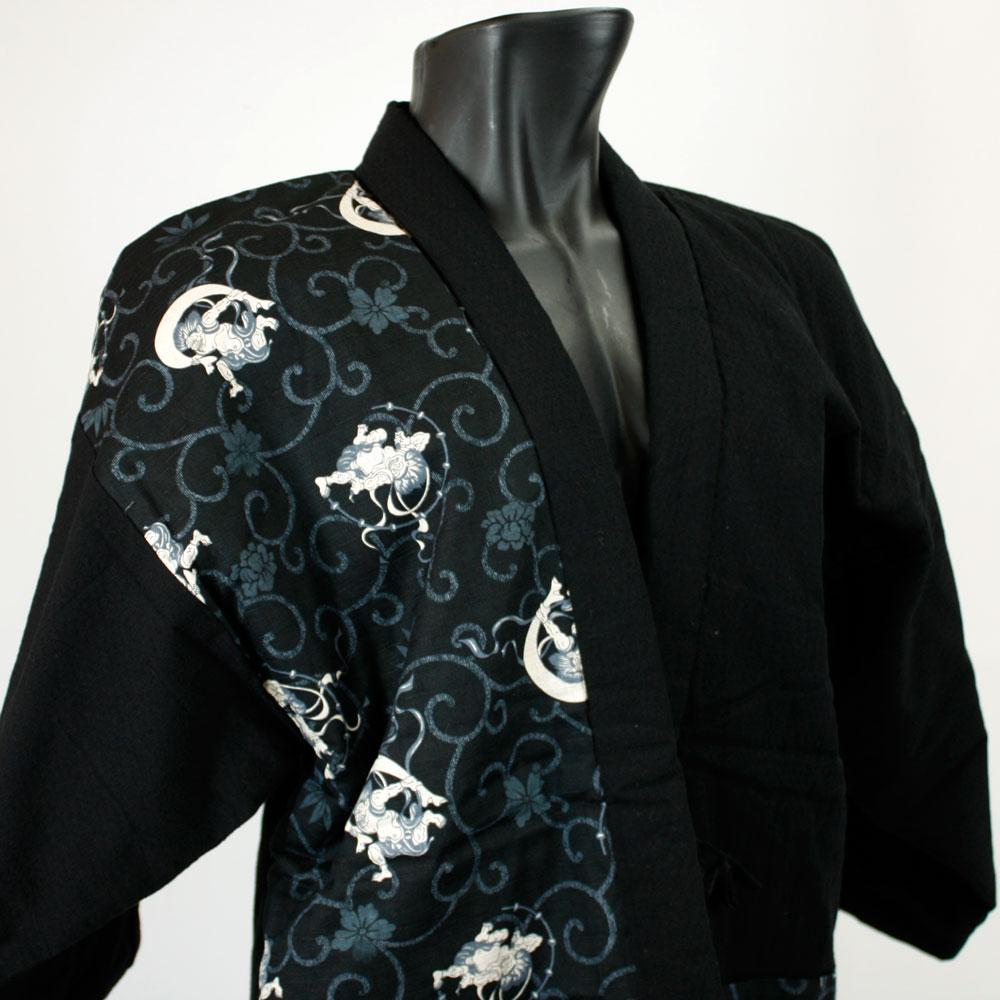 古渡-KOWATARI-謹製 日本製 紳士用綿入袢纏【江戸の粋(風神雷神)】