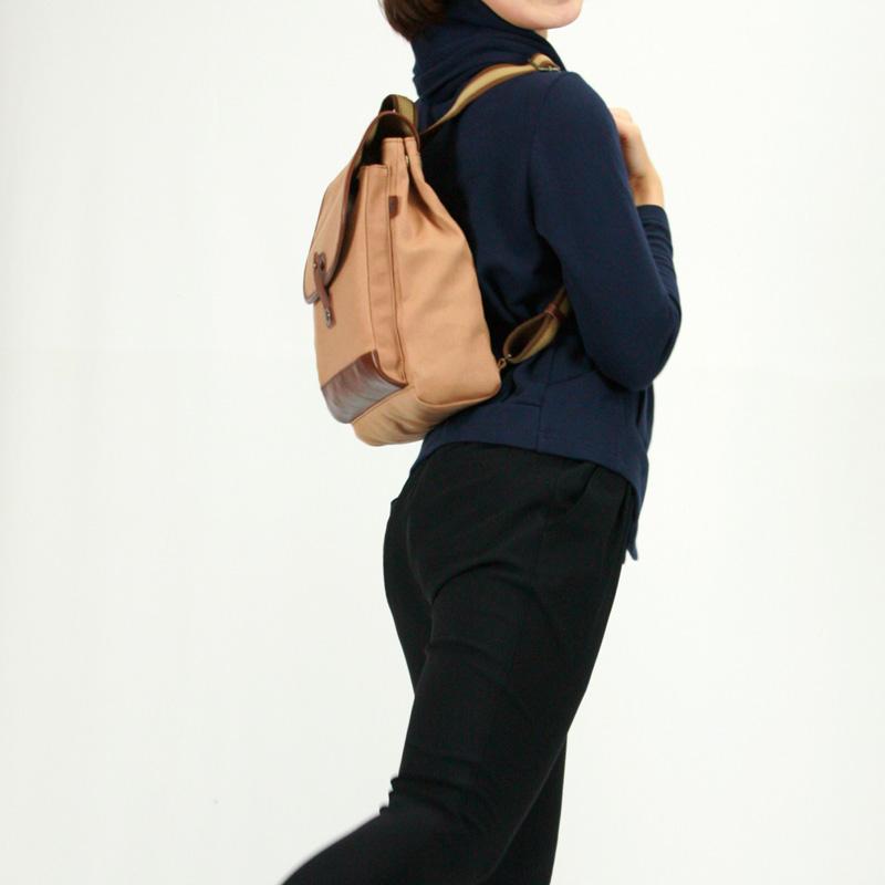 リュックバッグ ■日本製 本柿渋染帆布バッグ【リュック】340