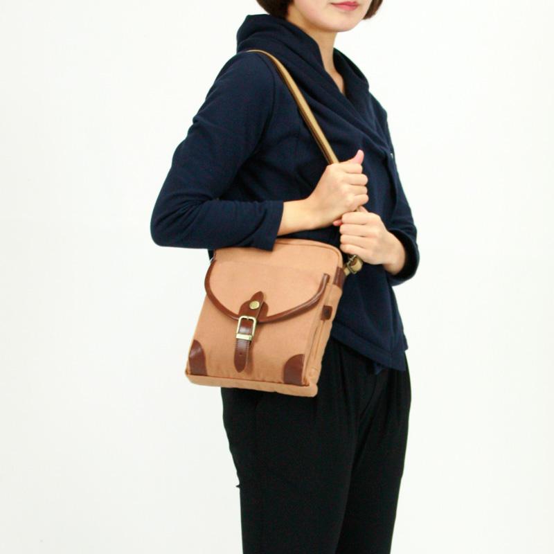 ショルダーバッグ ■日本製 本柿渋染帆布バッグ【ポケット付ショルダー】341