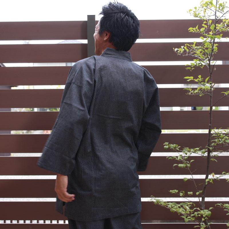 カジュアル作務衣 (さむえ) (男性用 作務衣 4色・M/L/LL/3L) 綿100%刺し子織 ■新感覚 作務衣
