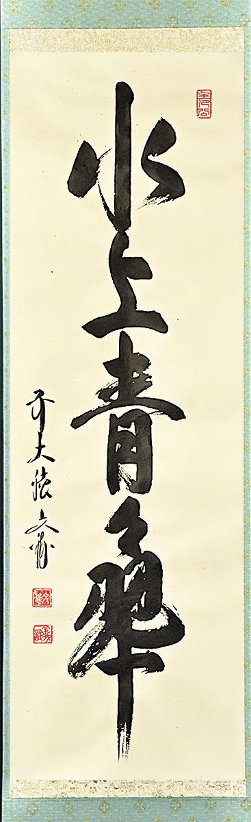 一行書 「水上青々翠」(すいじょう せいせいたるみどり) 法谷文雅師 筆