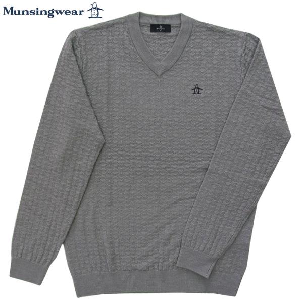ゴルフセーター マンシングウェア ゴルフウエア Vネックセーター MGMMJL08 GY グレー 2018年秋冬モデル 送料無料 Mサイズ