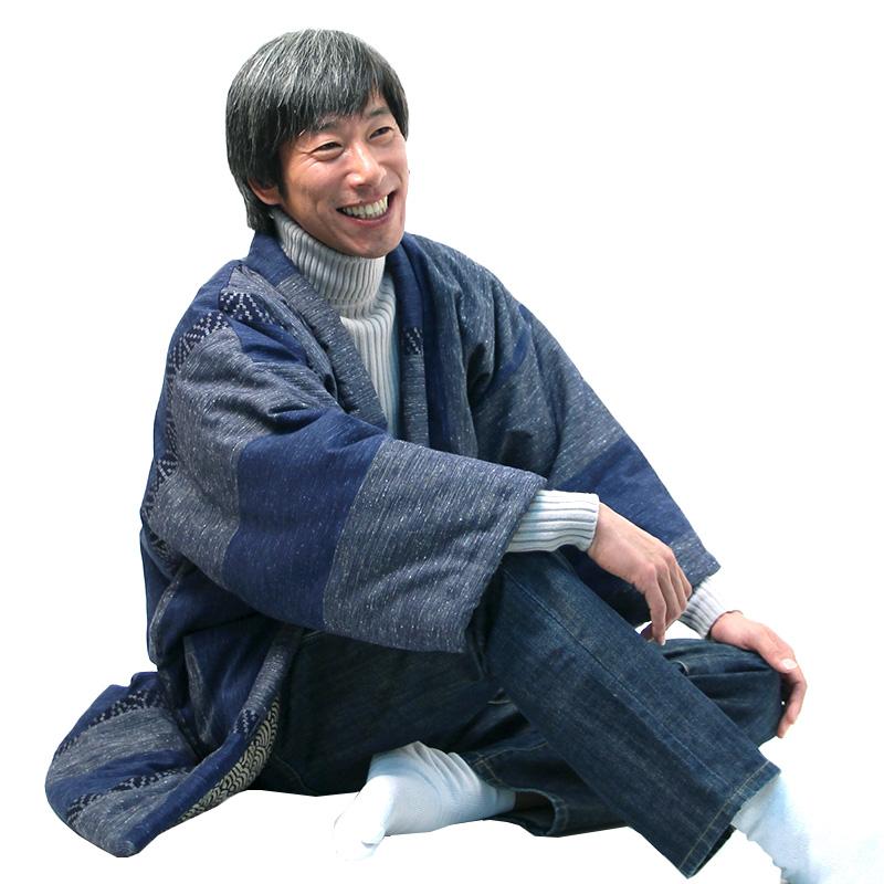 宮田織物 はんてん 半纏 絣調ドビー かすりちょう メンズ レディース 日本製 冬 中わた綿80%・ポリエステル20% 全4色