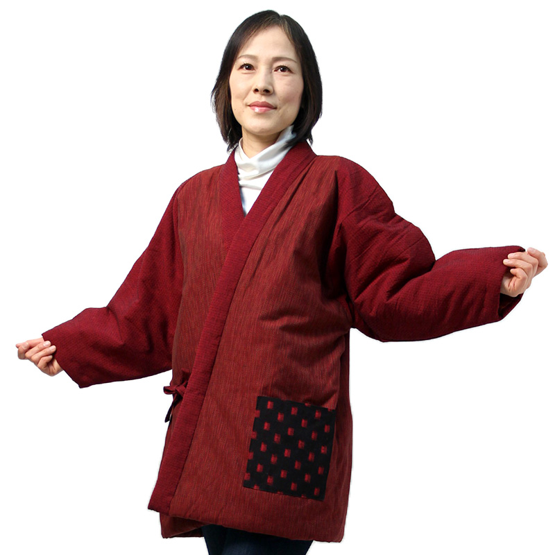 宮田織物 はんてん 半纏 四つ紐ラグラン メンズ レディース 日本製 冬 中わた綿80%・ポリエステル20% 紺/赤 前合わせ