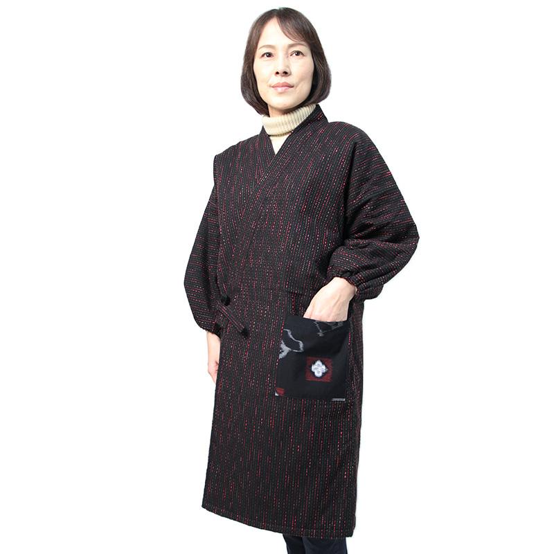 宮田織物 はんてん 半纏 キルト キルティング  お祝 ギフト レディース 日本製 冬 中わたポリエステル100% 黒 フリー ロング丈