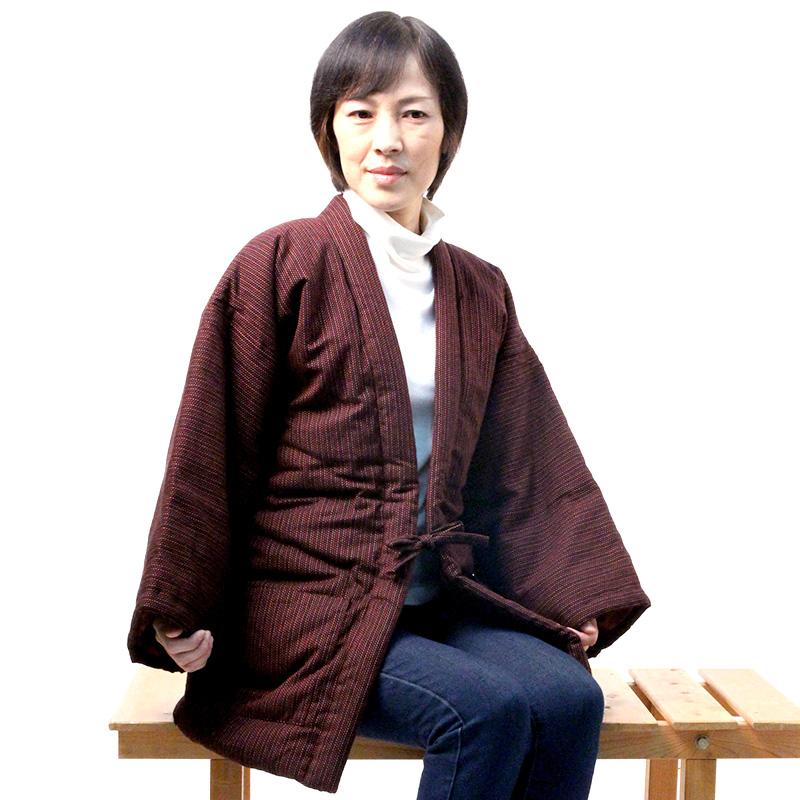 宮田織物 はんてん 半纏 色なでしこ メンズ レディース 日本製 冬 中わた綿80%・ポリエステル20% カラシ フリー