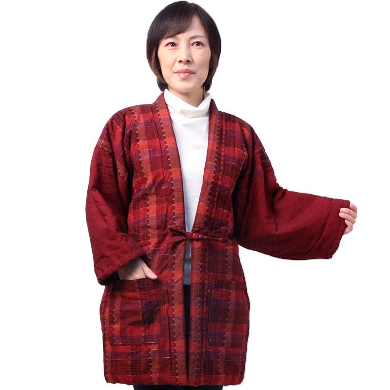 宮田織物 はんてん 半纏 大錦 おおにしき メンズ レディース 日本製 冬 中わた綿80%・ポリエステル20% 紺/赤/グリーン