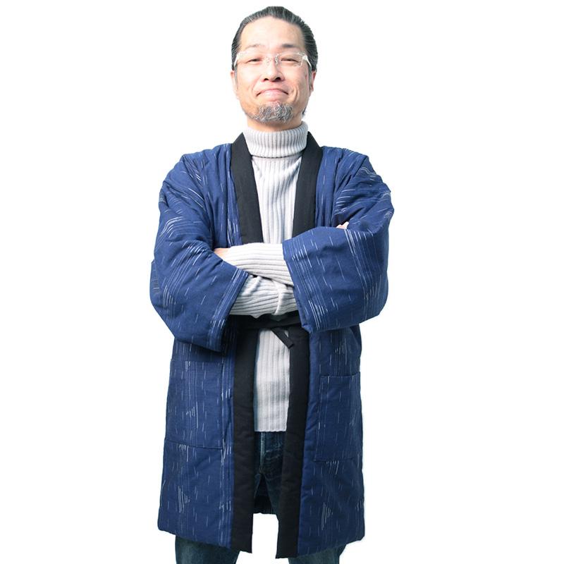 宮田織物 はんてん 半纏 帆風 ばんふう メンズ 日本製 冬 中わた綿100% 黒/紺/グレー フリー