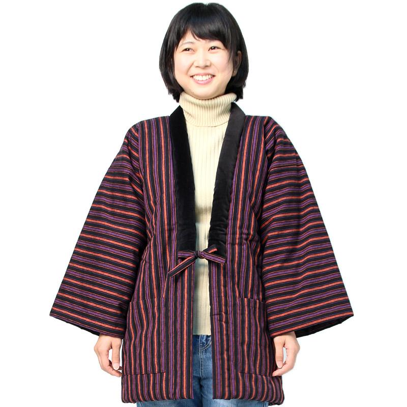 宮田織物 はんてん 半纏 冬芹 ふゆせり メンズ レディース 日本製 冬 中わた綿80%・ポリエステル20% 黒/紺/パープル フリー
