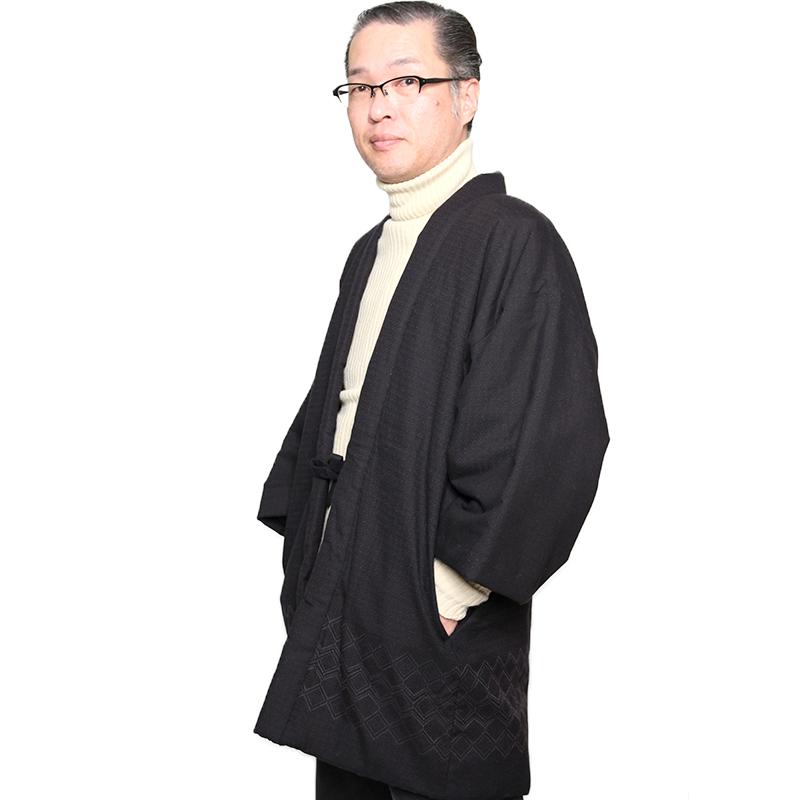 宮田織物 はんてん 半纏 天狼 てんろう メンズ 日本製 冬 中わた綿100% 黒/紺/赤 フリー リバーシブル