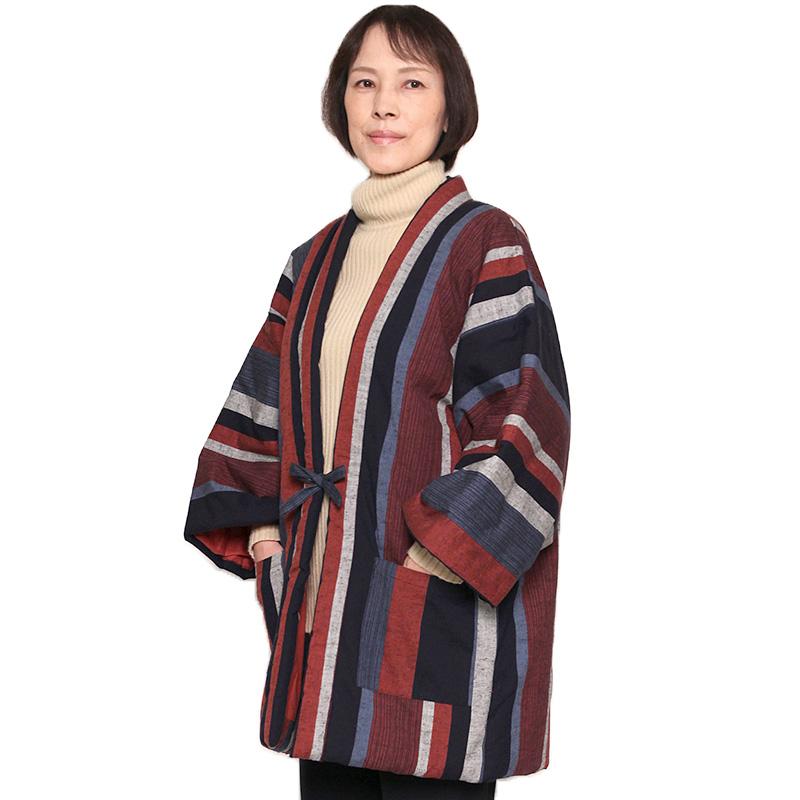 宮田織物 はんてん 半纏 藍調 あいちょう【普通サイズ】メンズ レディース 日本製 冬 中わた綿80%・ポリエステル20% 全6色