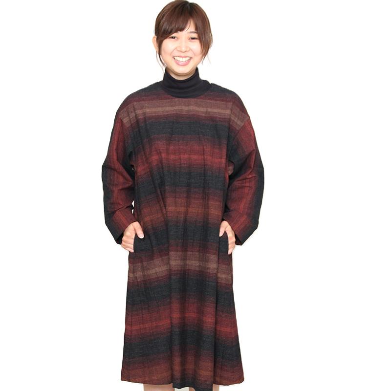 宮田織物 らしか 笹鳴(ささなき)ワンピース レディース 春秋冬用 日本製 綿100% 長袖 ブラック M/L