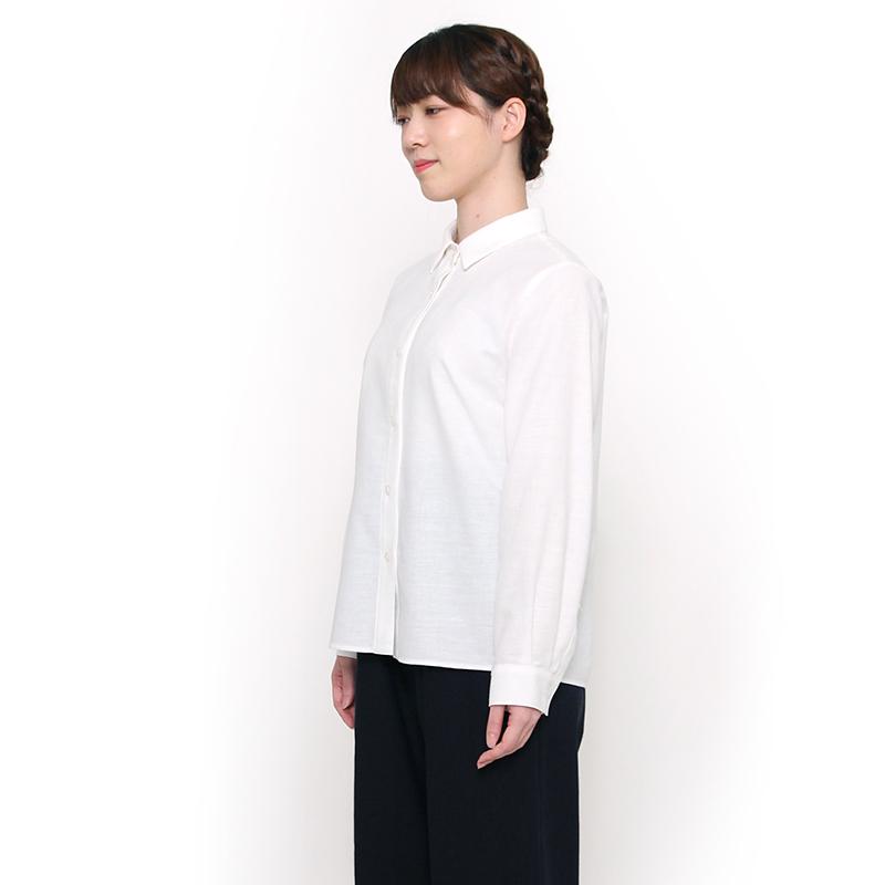 宮田織物 らしか hakutai(ハクタイ)シャツブラウス レディース 春夏秋用 日本製 綿100% 長袖 ホワイト/ネイビー フリー