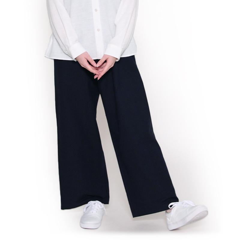 宮田織物 らしか hakutai(はくたい)パンツ レディース 春夏秋用 日本製 綿100% 無地 ロング丈 ワイド ネイビー フリー