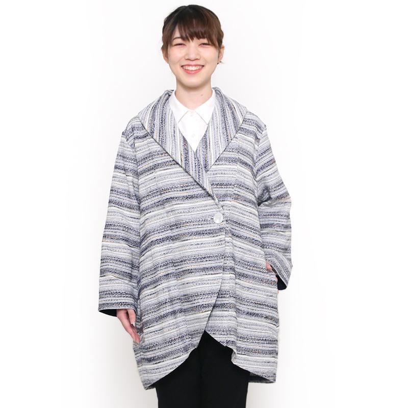 宮田織物 らしか amatubu(あまつぶ)ジャケット レディース 秋冬用 日本製 綿100% ロング丈 ホワイト/ブラック/ネイビー フリー